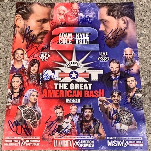Photo of SIGNED and NUMBERED NXT The Great American Bash 2021Fight Card (Random Number)