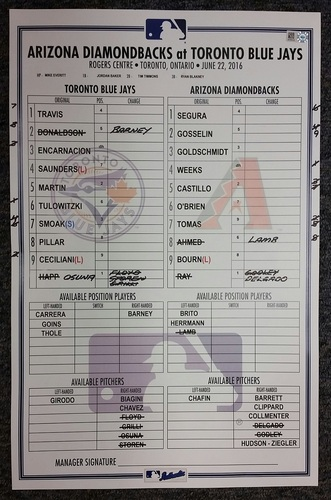 Authenticated June 22, 2016 Line-Up Card - Encarnacion gets league-leading 22nd RBI in June