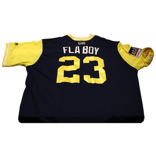 """Photo of Keon """"Fla Boy"""" Broxton Milwaukee Brewers Game-Used Players Weekend Jersey"""