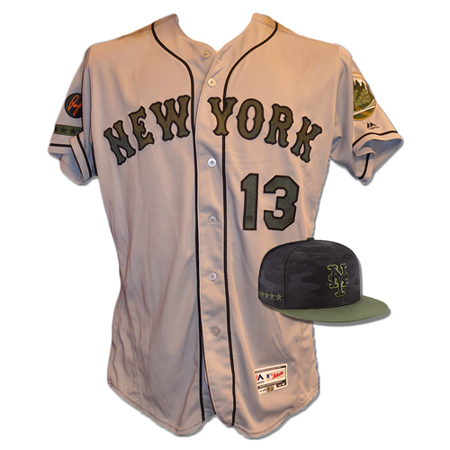Photo of Asdrubal Cabrera #13 - Game Used Road Grey Memorial Day Jersey and Hat - Mets vs. Braves - 5/28/18