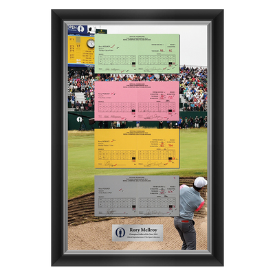 Photo of 1 of 200 L/E Rory McIlroy, Champion Golfer of Year, The 143rd Open 1,2,3 and Final Round Scorecard Reproductions Framed
