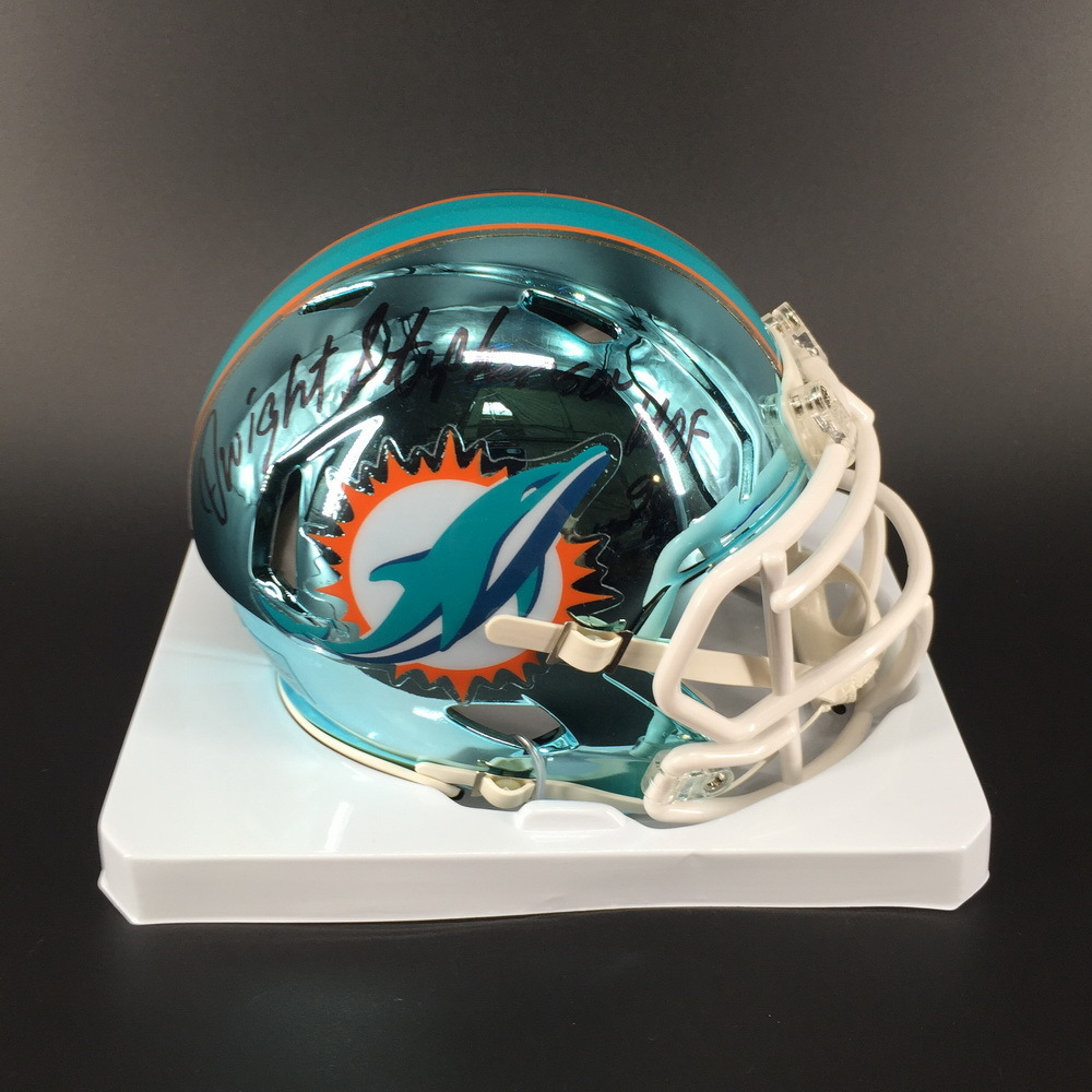 HOF - Dolphins Dwight Stephenson Signed Chrome Mini Helmet