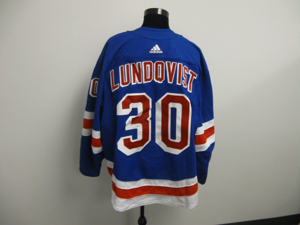 Henrik Lundqvist Autographed Event Worn Jersey from 2019 Player Media Tour - New York Rangers