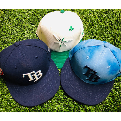Photo of National Keratoconus Foundation: Tommy Pham - Team Issued St. Patrick's Day Cap, Memorial Day Cap and Game Used Father's Day Cap - Sizes Unavailable