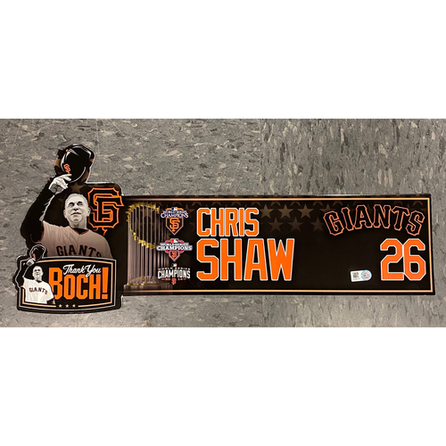 """Photo of 2019 Locker Tag - """"Thank You Boch!"""" Special Edition Game-Used Locker Tag - used for Final Series of Bochy's Career - #26 Chris Shaw"""