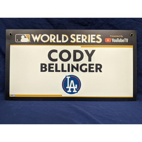 Photo of Team-Issued Cody Bellinger 2017 World Series Media Sign