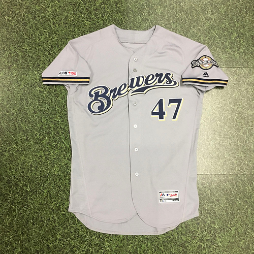 Photo of Gio Gonzalez 2019 Team-Issued Road Grey Jersey