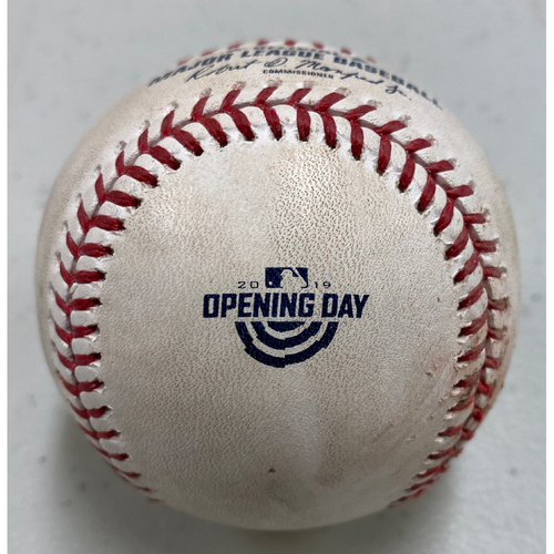 Photo of 2019 Game Used Opening Day Baseball used on 4/5 vs. TB - B-7: Wilmer Font to Steven Duggar - RBI Double to CF (Sandoval Scores)