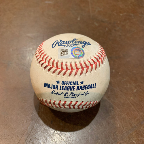 Photo of 2021 Game Used Baseball used on 4/13 vs. CIN - B-8: Cam Bedrosian to Austin Slater - Single to Right Field