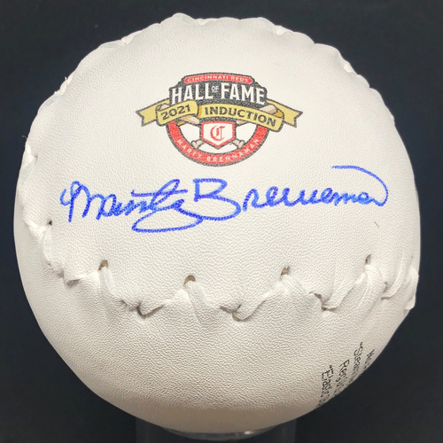 Photo of Marty Brennaman AUTOGRAPHED Softball with HOF 2021 Induction Logo