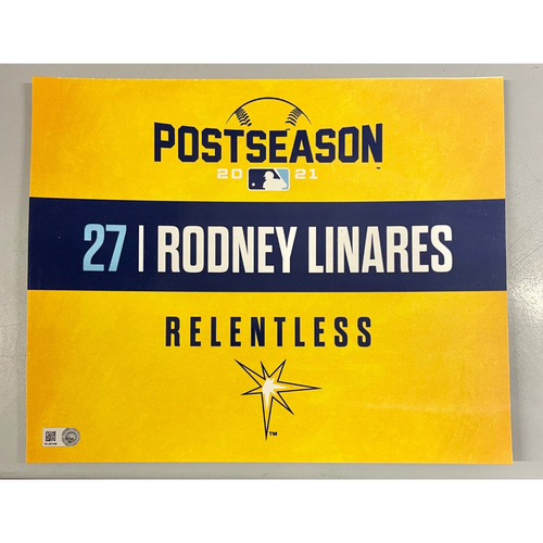 Photo of Game Used ALDS Locker Tag: Rodney Linares - Game 1 & 2 - October 7-8, 2021 v BOS