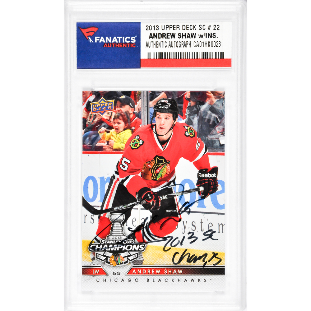 Andrew Shaw Chicago Blackhawks Autographed 2013 Upper Deck #22 Card with 2013 SC Champs Inscription