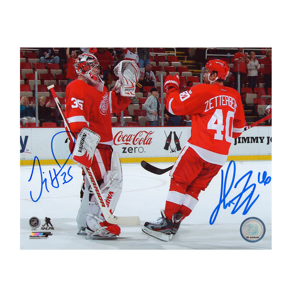 HENRIK ZETTERBERG & JIMMY HOWARD Signed Detroit Red Wings 8 X 10 Photo - 70204