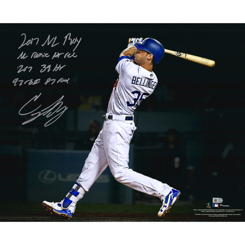 "Photo of Cody Bellinger Los Angeles Dodgers Autographed 16"" x 20"" Photo with Multiple Rookie Year Inscriptions - #1 of L.E. of 35"