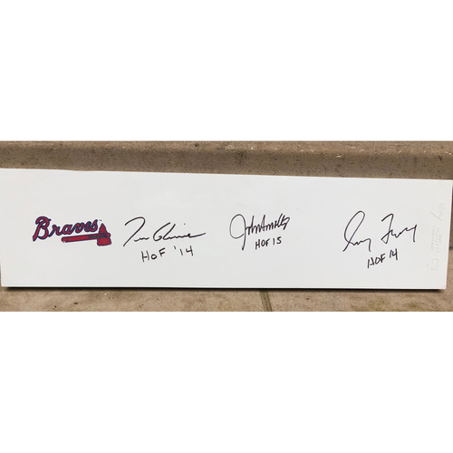 "Photo of ""Big Three"" Autographed Pitching Rubber"