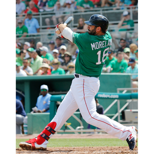 Photo of Red Sox Foundation St. Patrick's Day - Mitch Moreland Game-Used and Autographed Jersey
