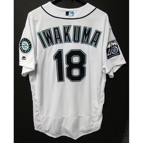 Photo of Hisashi Iwakuma 2017 Team-Issued Home White Jersey