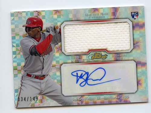 Photo of 2013 Finest Rookie Jumbo Relic Autographs X-Fractors #DG Didi Gregorius 034/149