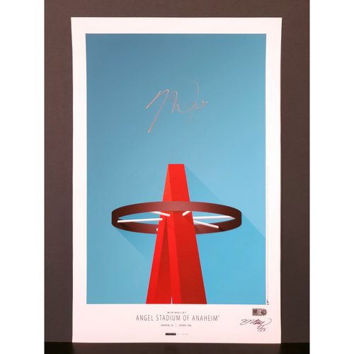 Photo of Mike Trout Autographed Minimalist Angel Stadium Art Poster - Artist S. Preston - Limited Edition