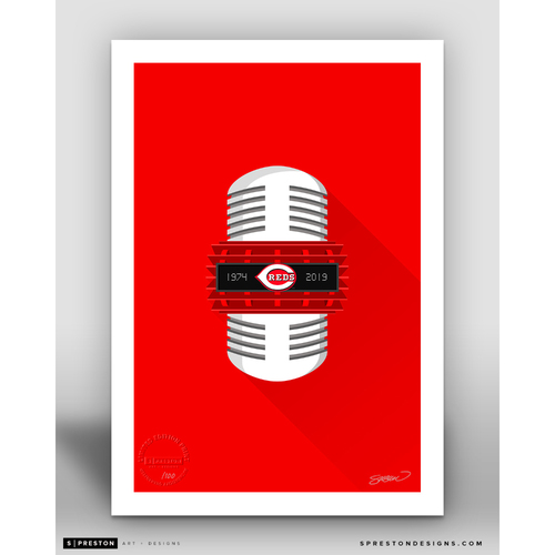 Photo of Limited Edition Marty Brennaman Minimalist Reds Broadcasting Art Print by S. Preston