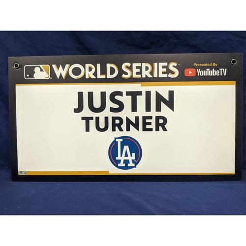 Photo of Team-Issued Justin Turner 2017 World Series Media Sign