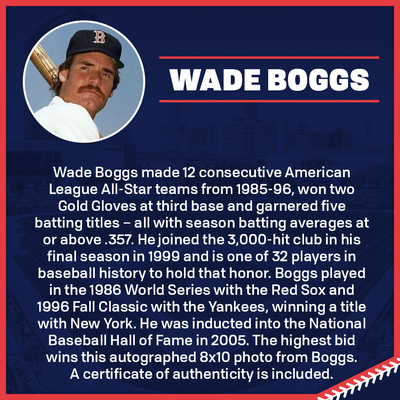 Wade Boggs Autographed 8x10 Photo