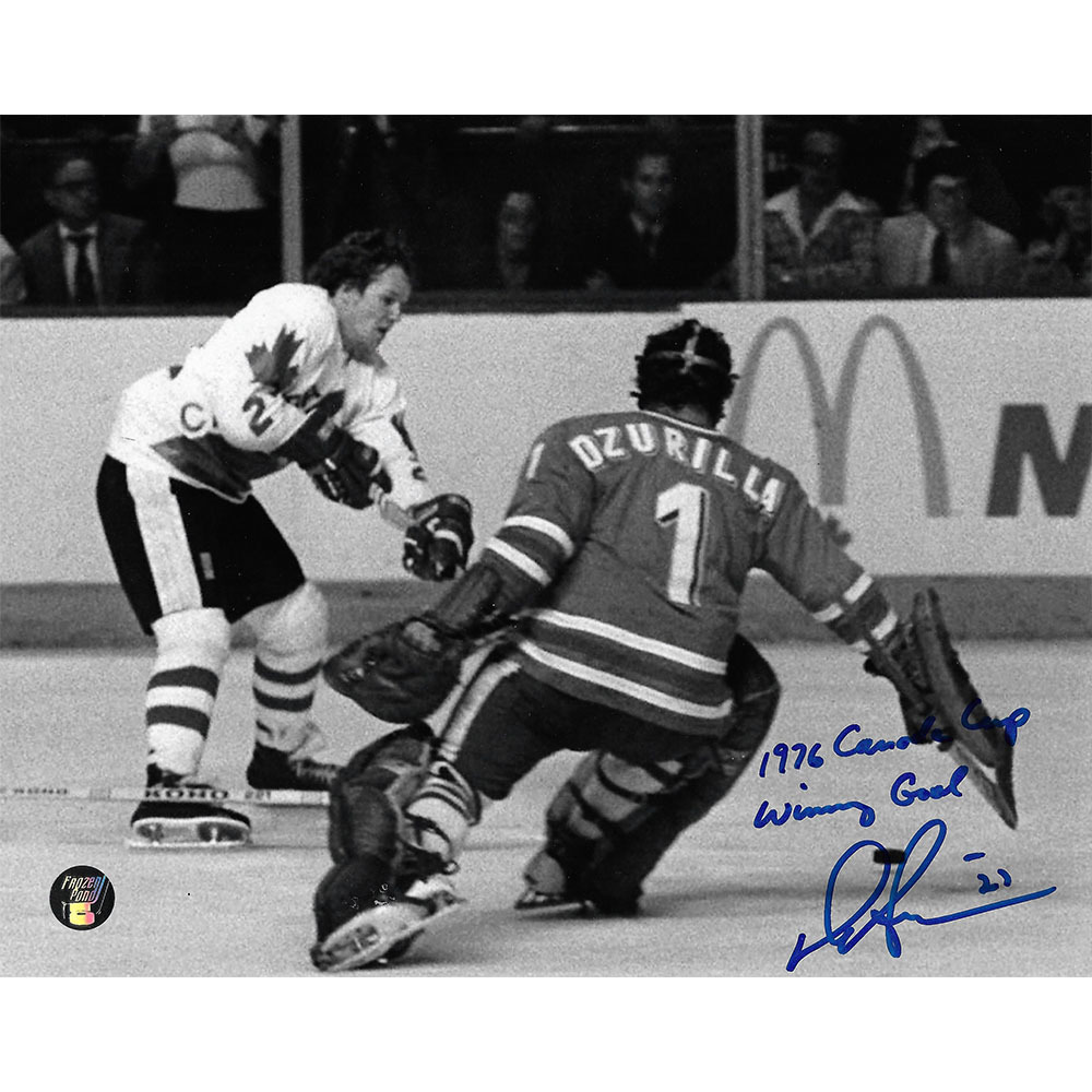 Darryl Sittler Autographed Team Canada 8X10 Photo w/1976 CANADA CUP WINNING GOAL Inscription