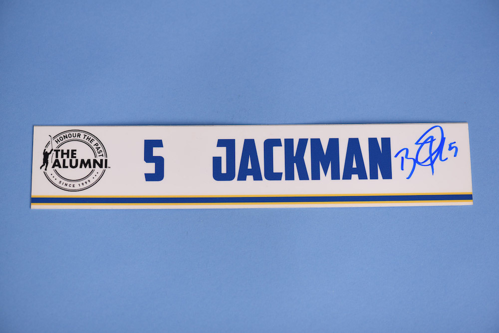 Barret Jackman autographed 2020 NHL Alumni All Star Game Locker Room Stall Nameplate