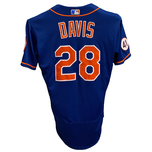 Photo of J.D. Davis #28 - Team Issued Blue Alt. Home Jersey with Seaver Patch - 2021 Season