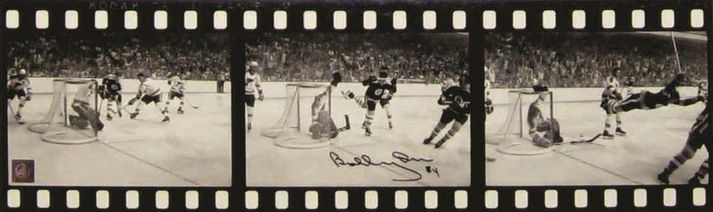 Bobby Orr - Signed 12x28 Bruins The Goal B/W Filmstrip