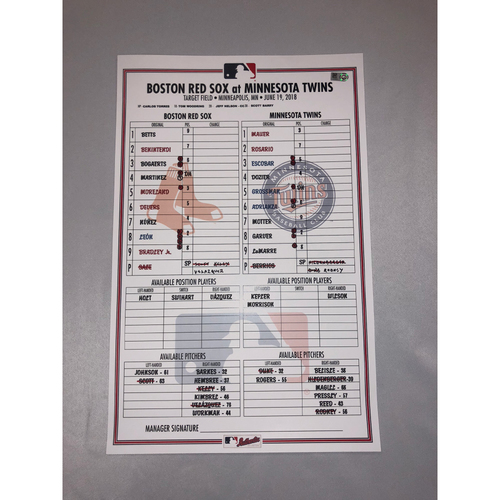 Photo of Red Sox at Twins June 19, 2018 Game-Used Lineup Card - Twins Win 6 to 2