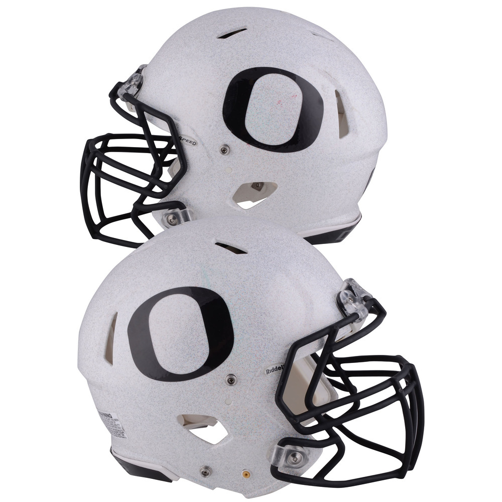 Oregon Ducks Game-Used Gray and Black Helmet Worn Between the 2014 and 2017 Football Seasons - Speed Triple