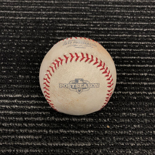 Photo of 2012 Postseason Game Used Baseball - NLDS Game 2 vs. Cincinnati Reds - Sergio Romo to Jay Bruce - Pitch in the Dirt
