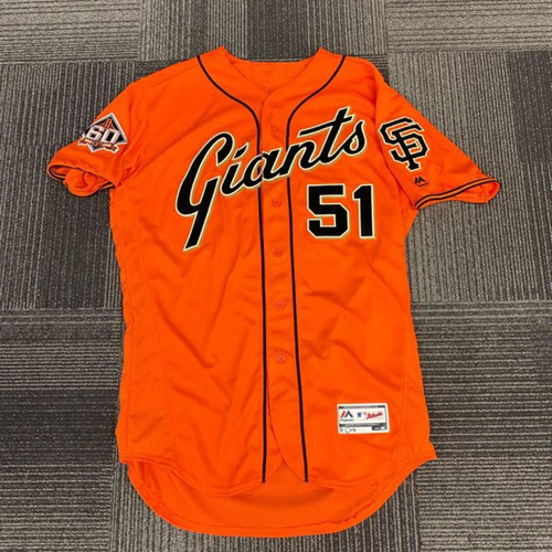 Photo of End of Year Auction - 2018 Team Issued Orange Friday Home Alternate Jersey - #51 Mac Williamson - size 46