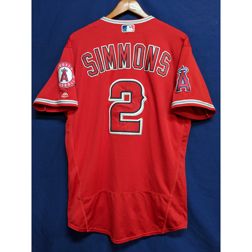Photo of Andrelton Simmons 2018 Game-Used Alternate Red Jersey