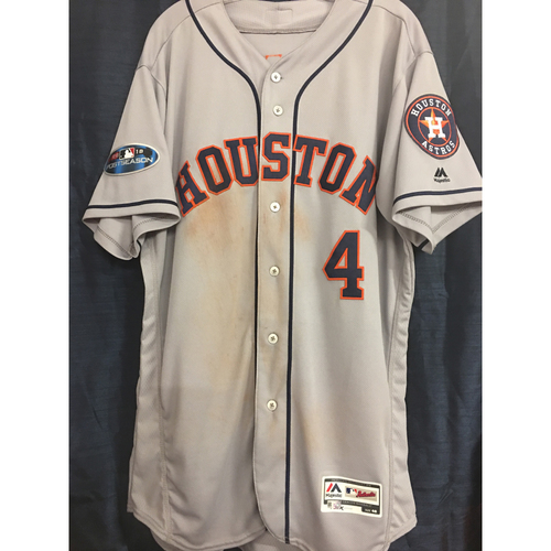 Photo of George Springer 2018 Game-Used Road Gray ALCS Postseason Jersey (Size 46)