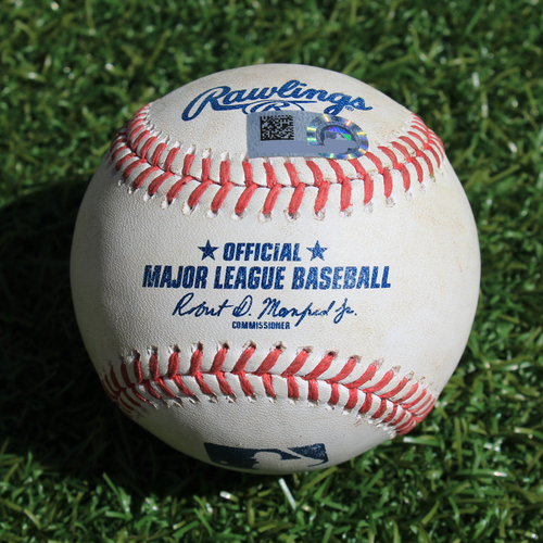 Photo of Game-Used Baseball: Pete Alonso 117th Career Hit and 92nd & 93rd Career RBIs (NYM @ KC - 8/17/19)