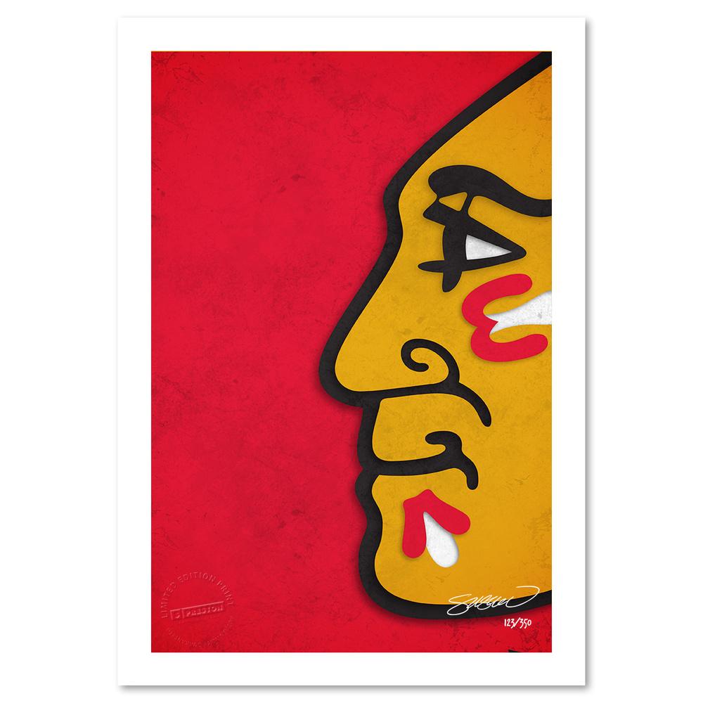 Chicago Blackhawks Minimalist NHL Logo Limited Edition Art Print by S. Preston
