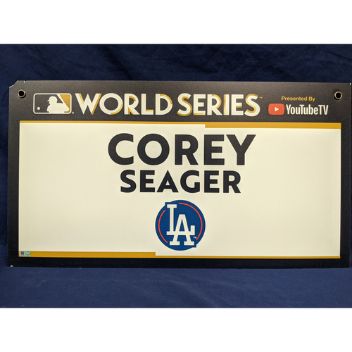Photo of Team-Issued Corey Seager 2017 World Series Media Sign