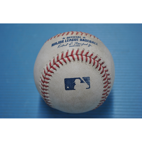 Photo of Game-Used Baseball - 2020 NLDS - San Diego Padres vs. Los Angeles Dodgers - Game 1 - Pitcher - Dustin May, Batter - Eric Hosmer (Groundout to Third Base) - Top 6