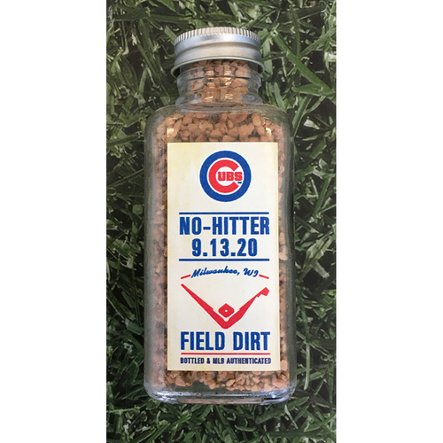 Photo of Game-Used Bottled Dirt - CHC@MIL - 09/13/20 - Alec Mills 1st Career No-Hitter