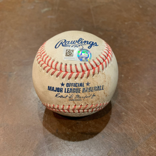 Photo of 2021 Game Used Baseball used on 4/13 vs. CIN - T-9: Jake McGee to Aristides Aquino - Strike Out Looking