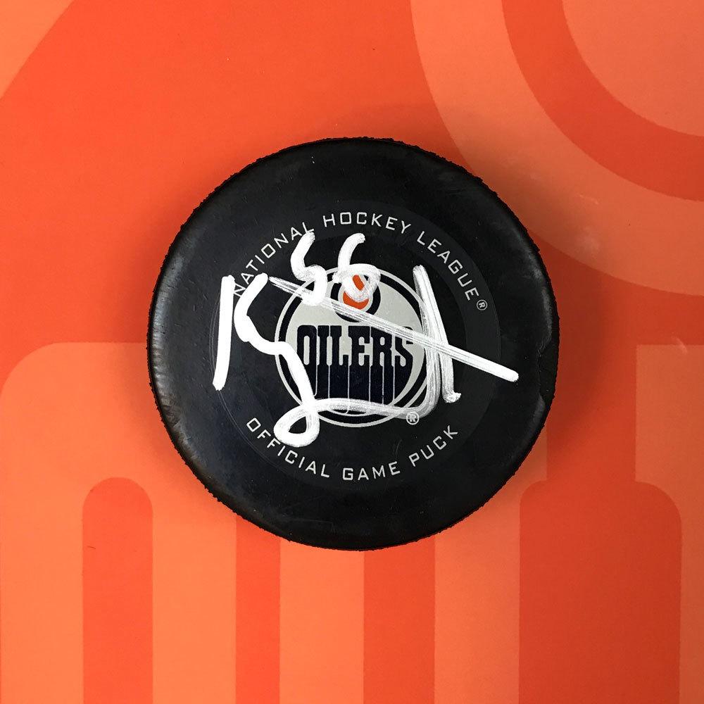 Kailer Yamamoto #56 - Autographed 7th NHL Career Regular Season Edmonton Oilers Goal Puck Scored On February 11th, 2020 vs. Chicago Blackhawks (Sixth Of Season)
