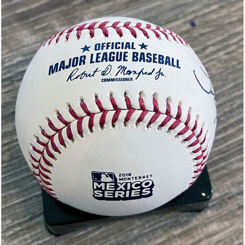 Photo of UMPS CARE AUCTION: Crew Signed Baseball and Hat From 2019 Monterrey Mexico Series
