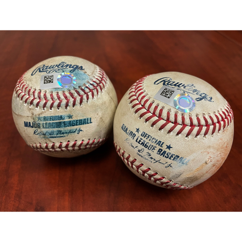 Photo of Game-Used Baseballs - P: Cole Irvin | B: Shohei Ohtani Fly Out (Top 1) & P: Shohei Ohtani | B: Mitch Moreland Ball (Btm 2) - Ohtani Pitched & Hit Ball From The Same Game