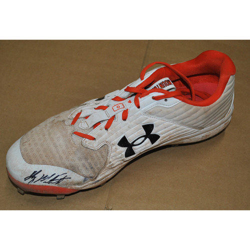 Photo of Game-Used and Autographed Cleats - 9/16/2021 vs. New York Yankees - Ryan Mountcastle - Sets the Orioles Rookie Home Run Record with 29th of Season