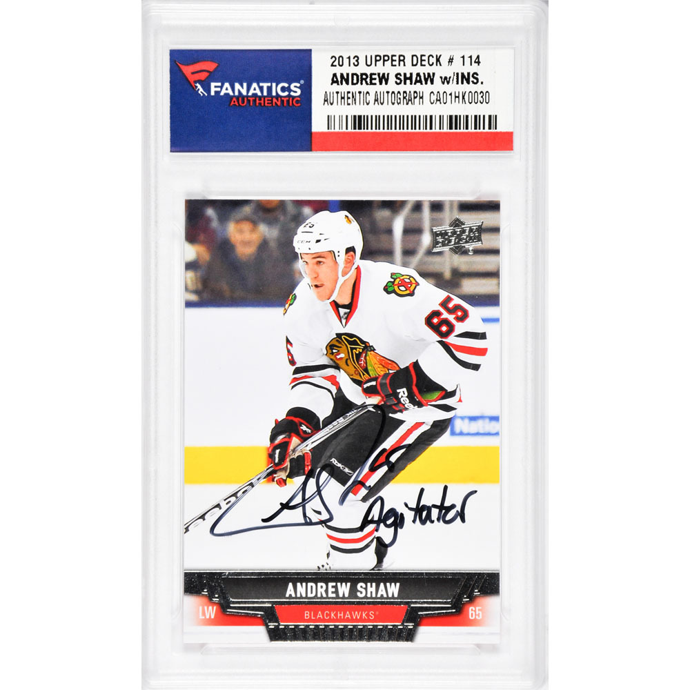 Andrew Shaw Chicago Blackhawks Autographed 2013-2014 Upper Deck #114 Card with Agitator Inscription