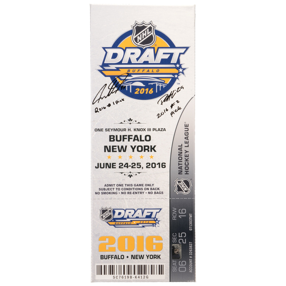 Auston Matthews and Patrik Laine Autographed 2016 NHL Draft Canvas Mega Ticket with Multiple Inscriptions