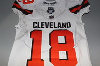 CRUCIAL CATCH - BROWNS KENNY BRITT SIGNED AND GAME ISSUED BROWNS JERSEY (OCTOBER 8, 2017) SIZE 38