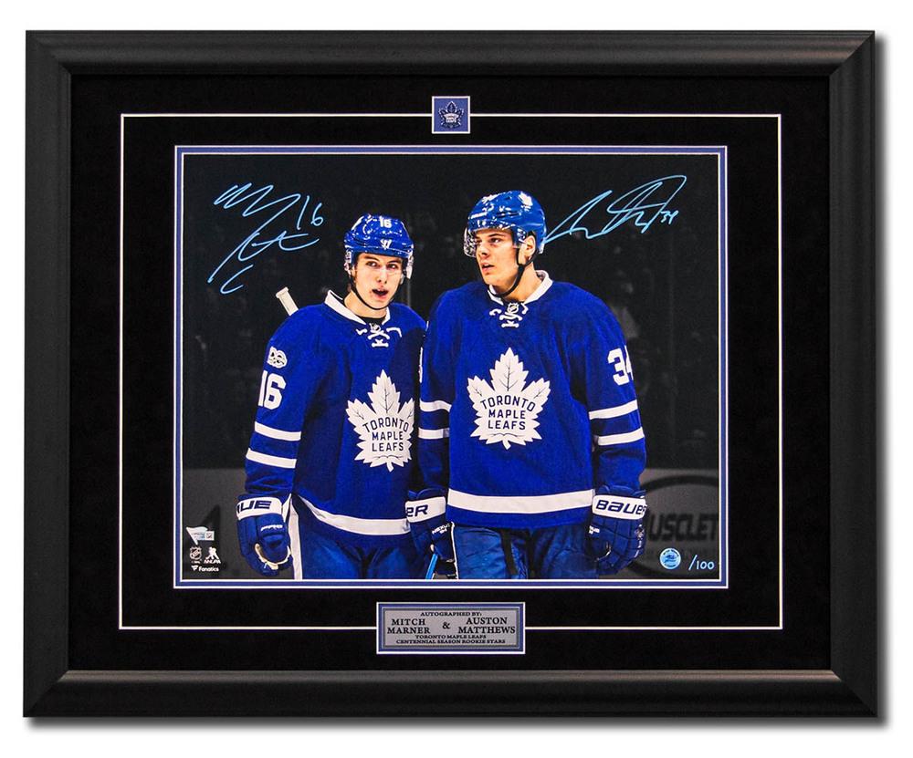 d498acf87bc Mitch Marner   Auston Matthews Dual Signed Maple Leafs 100 Year 25x31 Frame   100